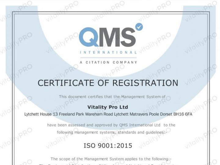 Vitality Pro celebrates ISO 9001:2015 accreditation